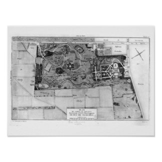 Planera av Parc Monceau i Paris Poster