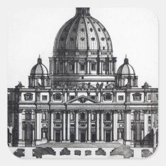 Planera av St Peter, Rome som by inristas Fyrkantigt Klistermärke