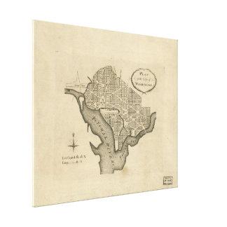 Planera av staden av Washington D.C. (1794) Canvastryck