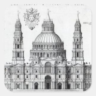 Planera för St Peter, Rome, 1539 Fyrkantigt Klistermärke