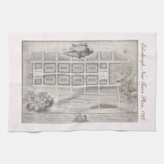 Planera först av den nya townen, Edinburgh 1767 Kökshandduk