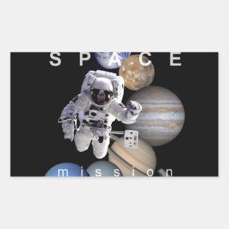planet för system för astronaututrymmebeskickning rektangulärt klistermärke