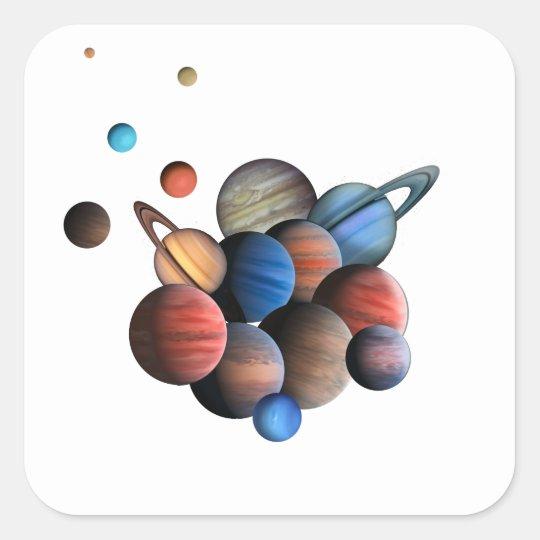Planet Fyrkantigt Klistermärke