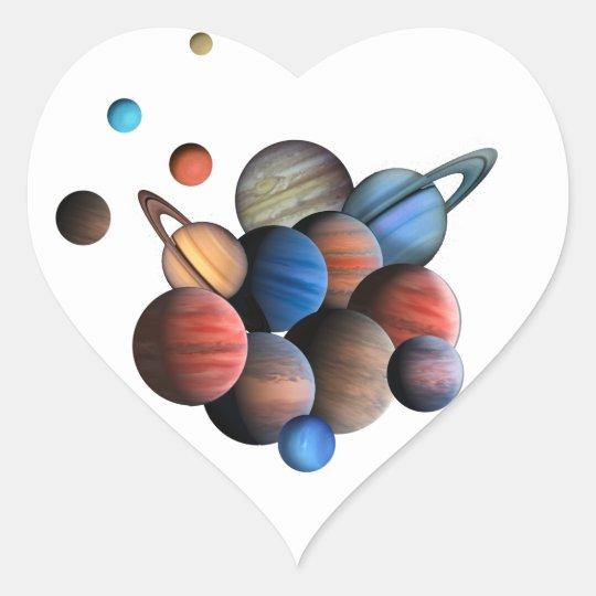 Planet Hjärtformat Klistermärke