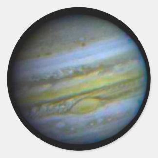 Planet Jupiter. Runt Klistermärke