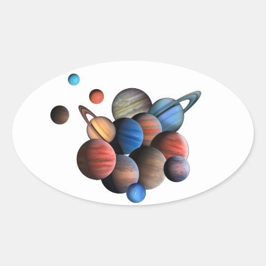 Planet Ovalt Klistermärke