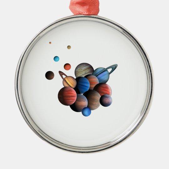 Planet Rund Silverfärgad Julgransprydnad