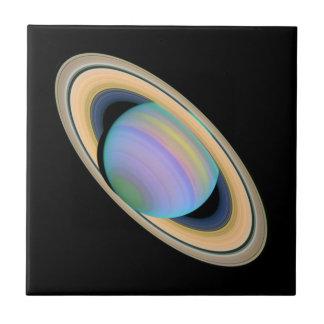 Planet Saturn i Ultraviolet Kakelplatta