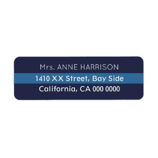 planlägg en görad randig blått returadress etikett