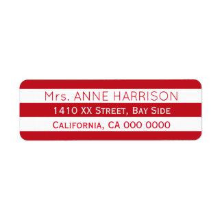 planlägg en görade randig ett rött & vit returadress etikett