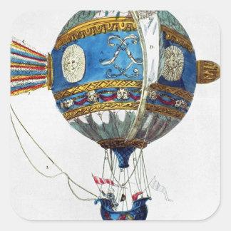 Planlägg för en luftballong med en diameter av 12 fyrkantigt klistermärke