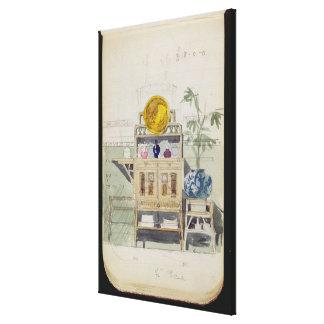 Planlägg för en serveringsbord, c.1860s-70s (w/c & canvastryck