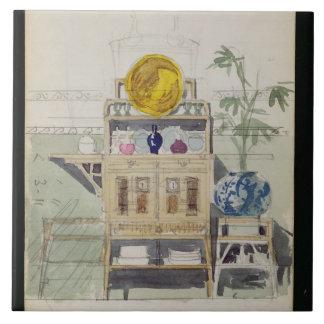 Planlägg för en serveringsbord, c.1860s-70s (w/c & kakelplatta