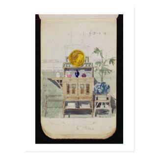 Planlägg för en serveringsbord, c.1860s-70s (w/c & vykort