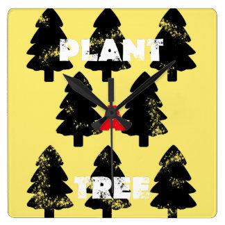 Plantera en trädMinimalistic vägg tar tid på Fyrkantig Klocka