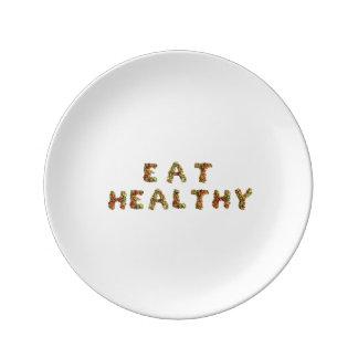 Plate som påminner dig att äta healthily porslinstallrik