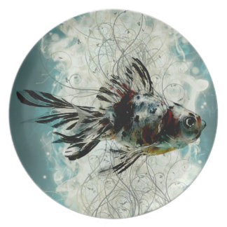 Plätera med calicoguldfisk och virvla runt designe dinner plates