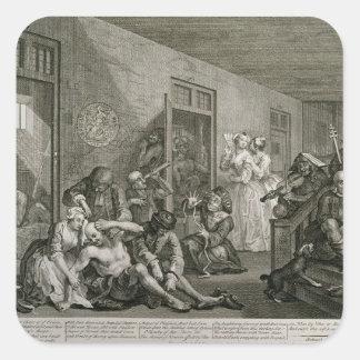 Plätera VIII från en rakes framsteg, 1735 Fyrkantiga Klistermärken
