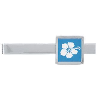 Pläterad slipshållare för blåttvithibiskus silver slipsnål med silverfinish