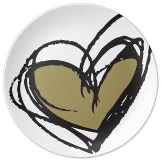 Pläterar dekorativt porslin för guld- hjärta