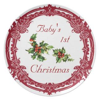 Pläterar den 1st julen för vintagejärnekbabyen tallrik