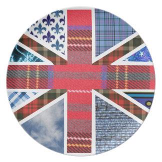 Pläterar den brittiska patriottartanen för den fac tallrik