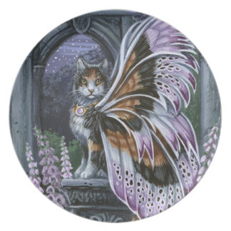 Pläterar den felika katten för FoxgloveCalico Tallrik