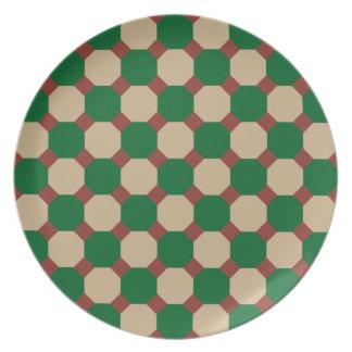Pläterar den gröna oktogonen för skogen dinner plates