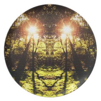 Pläterar den Psychedelic skogen för DMT Fest Tallrikar