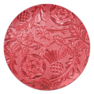 Pläterar den röda blommigten för Cranberry Tallrik