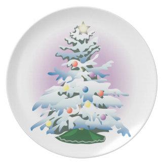 Pläterar den snöig julgranhelgdag för KRW Tallrik