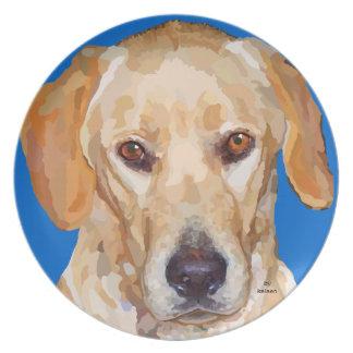 Pläterar original- målning för den Labrador retrie Tallrik