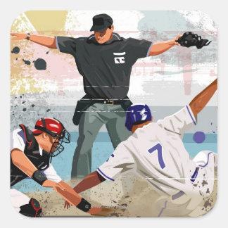 Pläterar säkert hemmastatt för basebollspelare fyrkantigt klistermärke