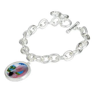 Pläterat berlockarmband för Flamingo silver