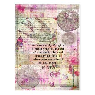 Plato quotation om liv, oärlighet, skräck vykort