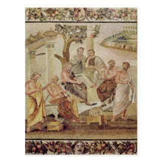 Plato som samtalar med hans elever vykort
