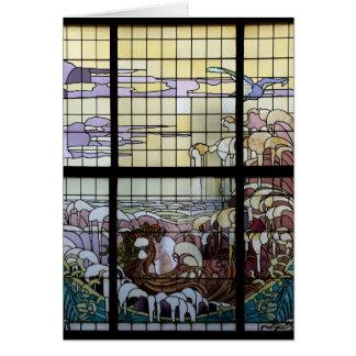 Plats för målat glassart nouveauhav hälsningskort