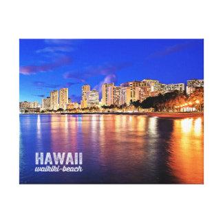 Plats för natt för oljemålningHawaii Waikiki Canvastryck