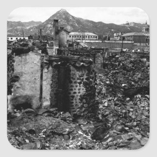 Platsen av krigskada i residential_War avbildar Fyrkantigt Klistermärke