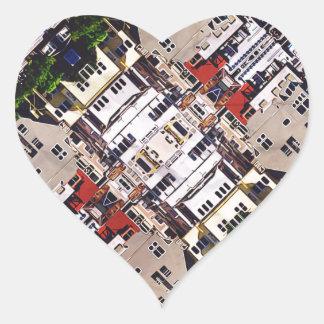 Platsen av staden strukturerar hjärtformat klistermärke