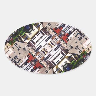 Platsen av staden strukturerar ovalt klistermärke