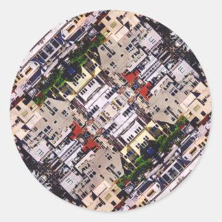 Platsen av staden strukturerar runt klistermärke