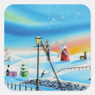 Platsen Gordon Bruce för snö för lamptändarevinter Fyrkantigt Klistermärke