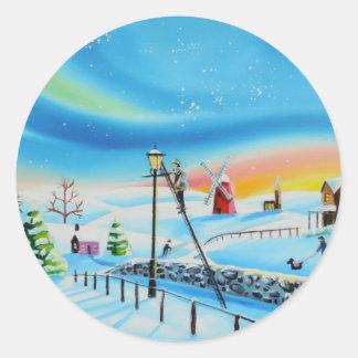 Platsen Gordon Bruce för snö för lamptändarevinter Runt Klistermärke