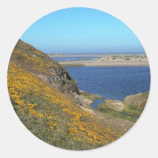 Platsen pekar den Reyes seashoren Kalifornien Runt Klistermärke