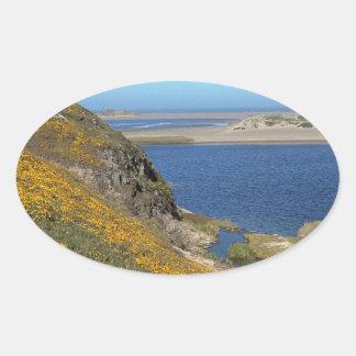 Platsen pekar den Reyes seashoren Kalifornien Ovalt Klistermärke