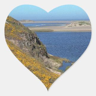 Platsen pekar den Reyes seashoren Kalifornien Hjärtklistermärken