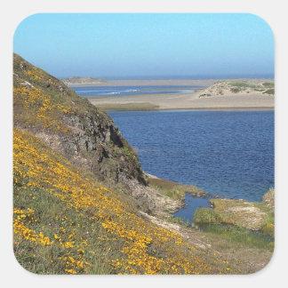 Platsen pekar den Reyes seashoren Kalifornien Fyrkantiga Klistermärken