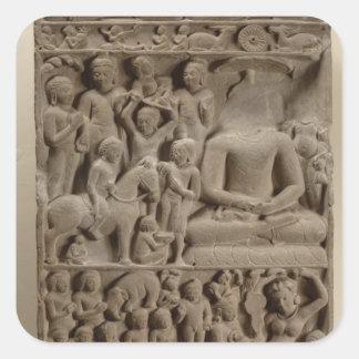 Platser från Buddhas liv, Sarnath, Uttar Pradesh Fyrkantigt Klistermärke
