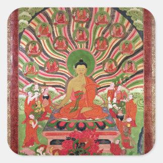 Platser från livet av Buddha Fyrkantigt Klistermärke